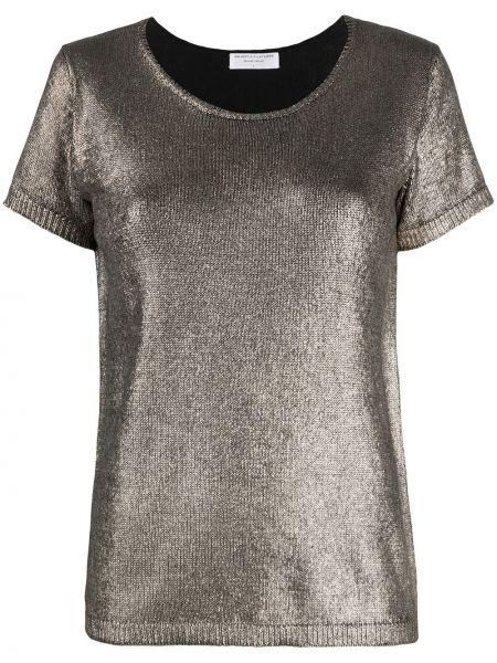 Шелковая рубашка с коротким рукавом золотая с короткими рукавами с круглым вырезом Majestic Filatures