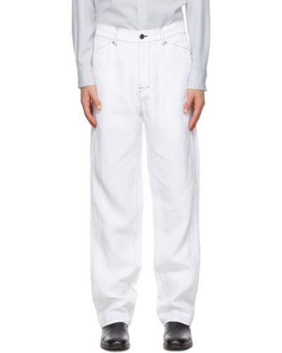 Льняные белые брюки в полоску Overcoat