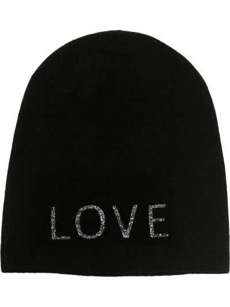 Кашемировая теплая черная шапка бини без застежки Warm-me