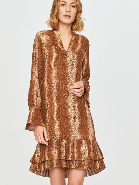 Прямое коричневое платье с длинными рукавами Scotch & Soda