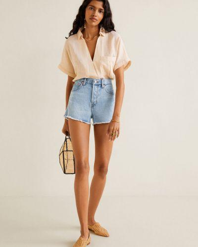 Джинсовые шорты с завышенной талией с карманами Mango