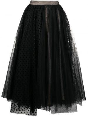 Czarna spódnica midi z wysokim stanem tiulowa Brognano