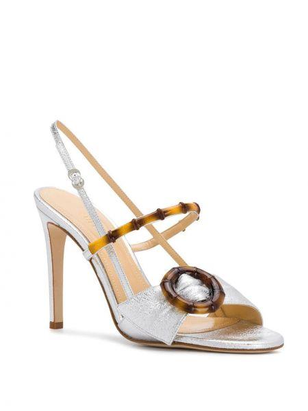 Кожаные серебряные открытые босоножки на высоком каблуке на каблуке Chloe Gosselin