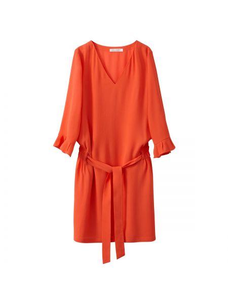 Коралловое платье мини с V-образным вырезом на молнии с оборками See U Soon