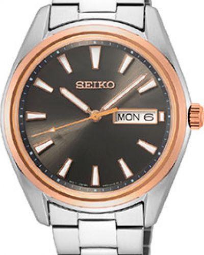 Со стрелками серебряные кварцевые часы круглые Seiko
