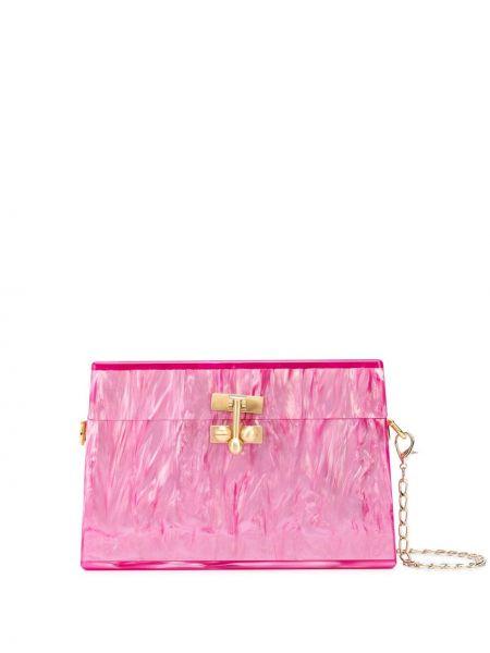 Золотистая розовая сумка на плечо Edie Parker