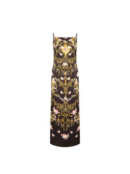 Czarna sukienka midi boho bez rękawów Versace Jeans Couture
