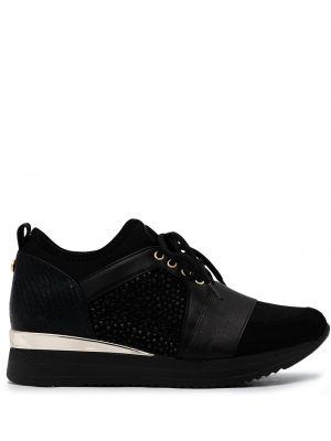 Złote czarne sneakersy na platformie Carvela