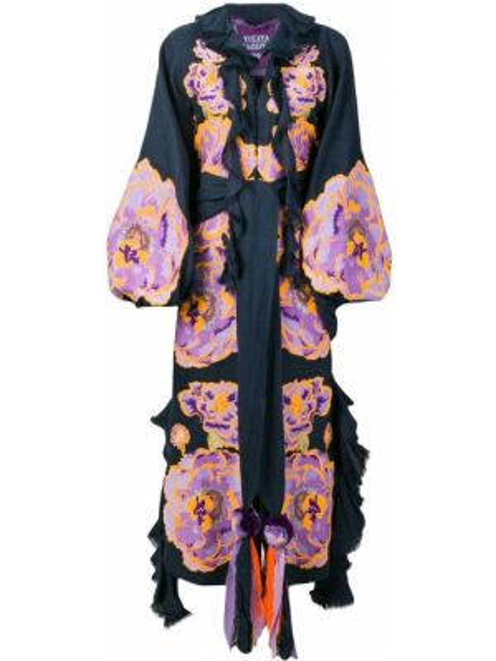 Платье с вышивкой с воротником золотое на молнии Yuliya Magdych