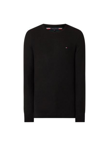 Prążkowany czarny sweter bawełniany Tommy Hilfiger
