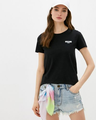 Черная футболка с короткими рукавами Moschino Swim