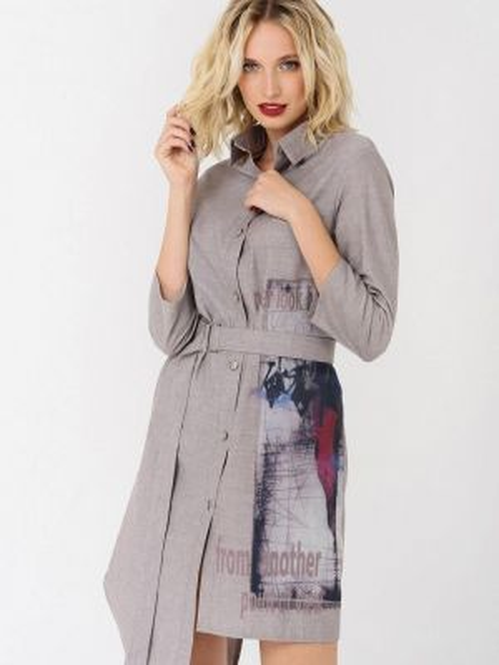 Платье платье-рубашка бежевое Ricamare