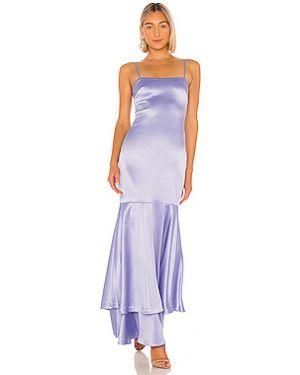 Синее вечернее платье на молнии с оборками с подкладкой Likely