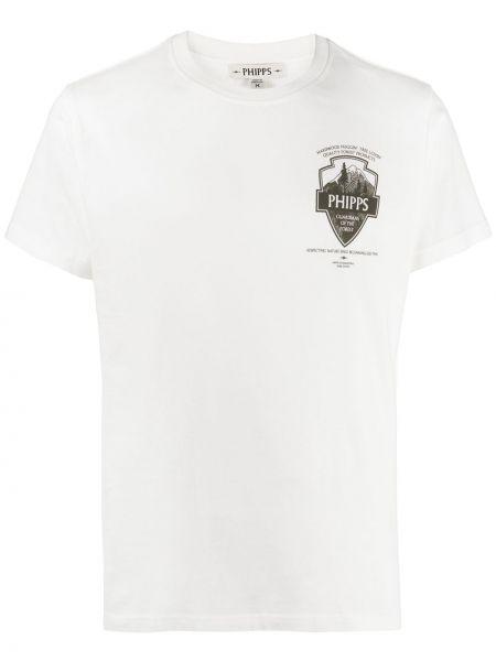 Белая хлопковая футболка с нашивками с круглым вырезом Phipps