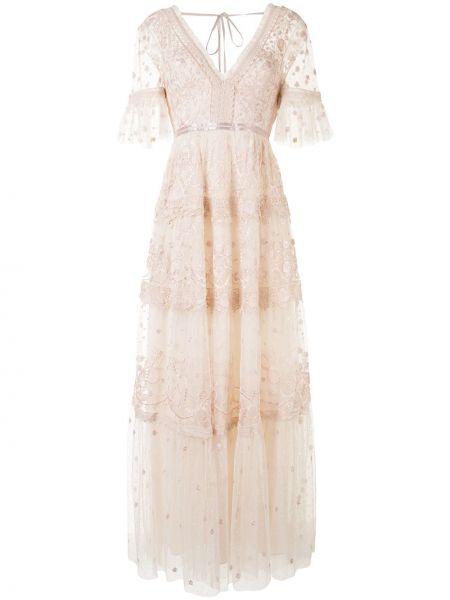 Платье мини из фатина с вышивкой с V-образным вырезом на молнии Needle & Thread