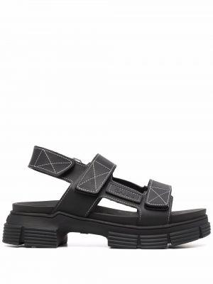 Czarne sandały peep toe Ganni