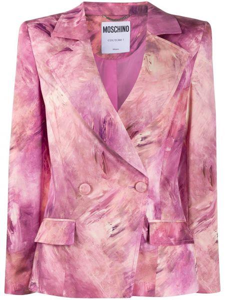 Розовый короткая куртка двубортный с карманами Moschino