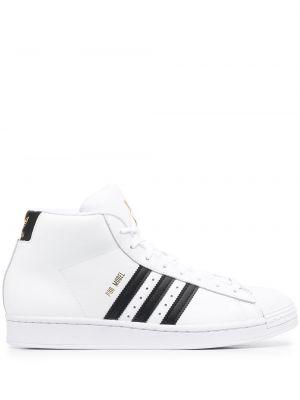 Кожаные высокие кроссовки - белые Adidas