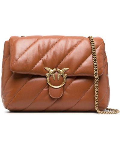 Стеганая коричневая сумка на цепочке на молнии Pinko