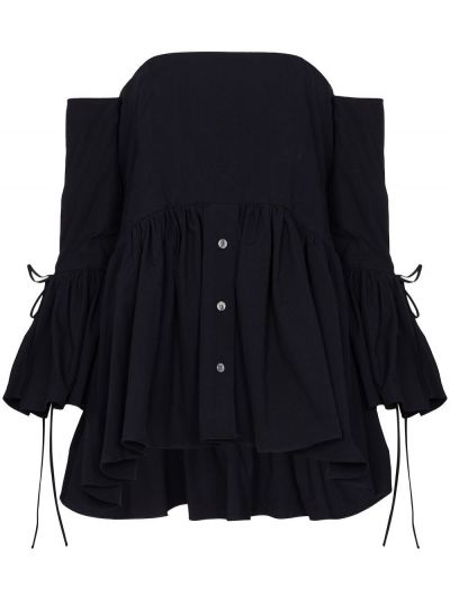 Блузка с открытыми плечами - синяя Rosie Assoulin