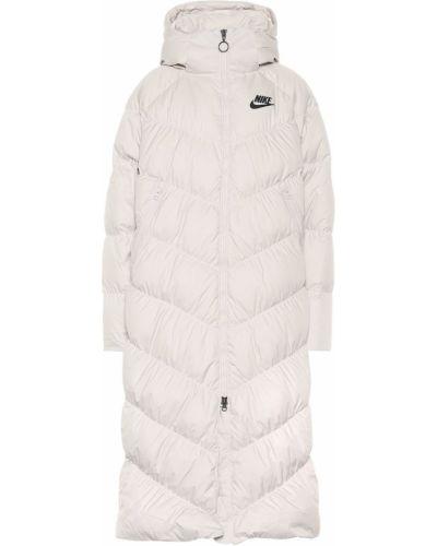 Пуховая белая длинное пальто с капюшоном Nike