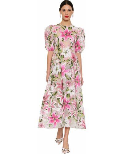 Белое платье миди с декольте на крючках Dolce & Gabbana