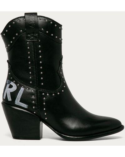 Skórzany czarny buty z wkładkami na pięcie Karl Lagerfeld