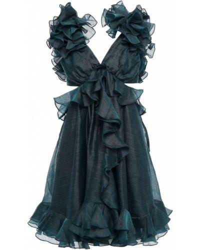 Платье мини с открытой спиной - зеленое Zimmermann