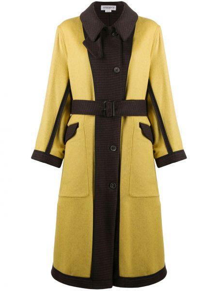 Кожаное пальто классическое в клетку двустороннее Victoria Beckham