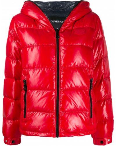 Куртка с капюшоном с карманами красная Duvetica
