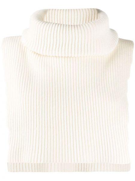 Шерстяной свитер в рубчик с высоким воротником с короткими рукавами Cashmere In Love