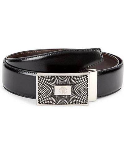 Черный кожаный ремень с поясом Roberto Cavalli