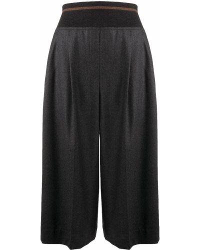Wełniany rozbłysnął spodnie culotte wysoki wzrost Brunello Cucinelli