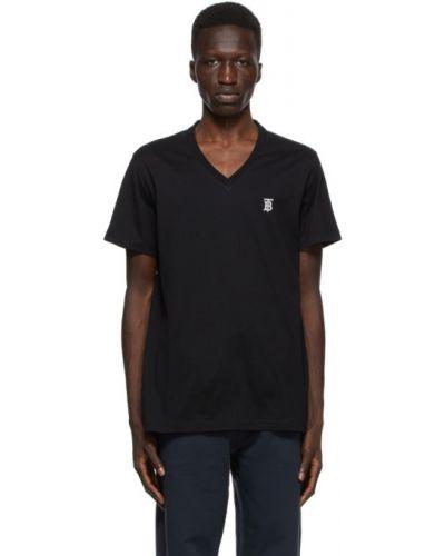 Bawełna z rękawami czarny koszula z haftem Burberry