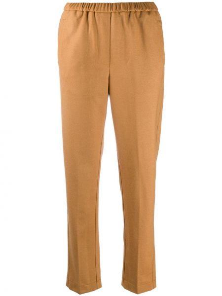 Шерстяные коричневые укороченные брюки с карманами Forte Forte