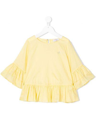 Хлопковая желтая блузка с вырезом Monnalisa