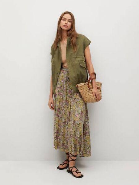 Расклешенная зеленая юбка миди из вискозы Mango