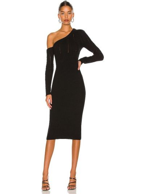 Хлопковое платье миди - черное Majorelle