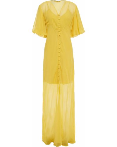 Шелковое платье макси - желтое Olivia Von Halle