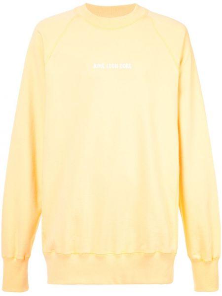Żółta bluza bawełniana z printem Aime Leon Dore