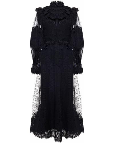 Кружевное черное платье миди из фатина Zimmermann