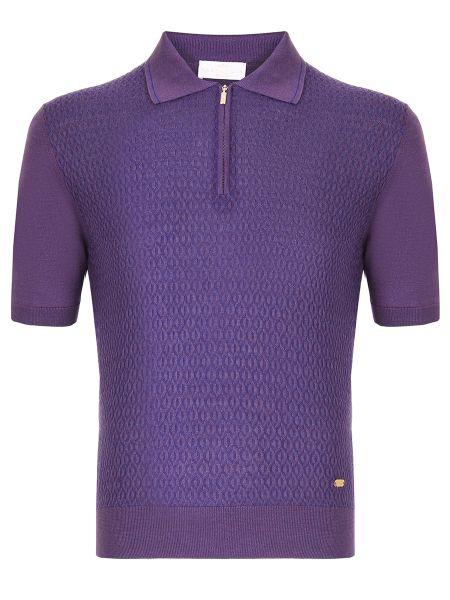 Шелковое фиолетовое поло с короткими рукавами на молнии Castangia