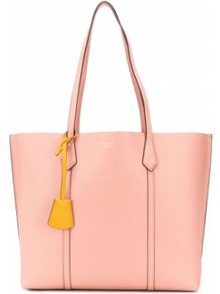 Розовая сумка шоппер с камнями круглая из натуральной кожи Tory Burch