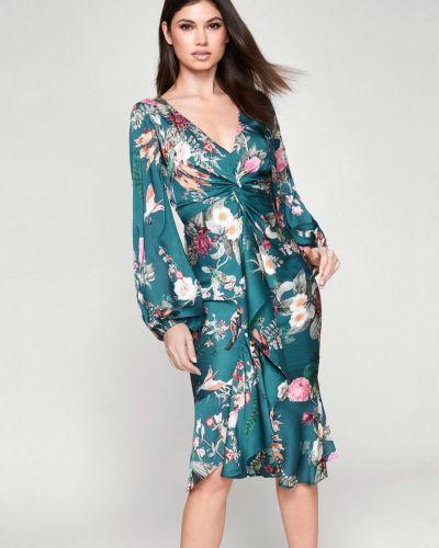 Платье миди в цветочный принт - зеленое Lipsy