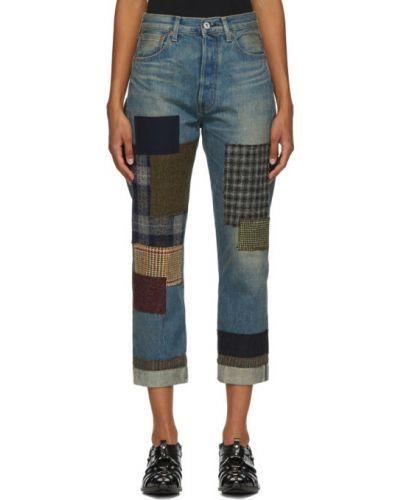 Кожаные прямые джинсы пэчворк Junya Watanabe