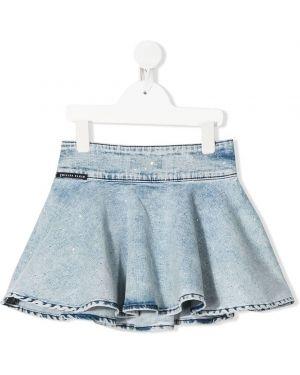 Приталенная расклешенная синяя юбка мини Philipp Plein