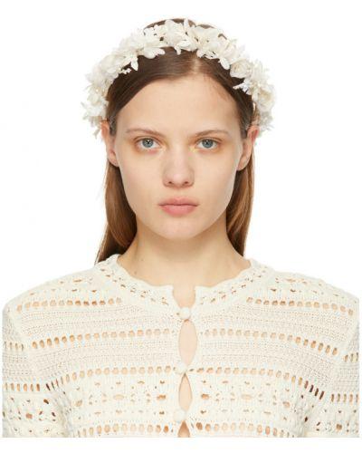 Шелковый белый ободок с жемчугом Saint Laurent