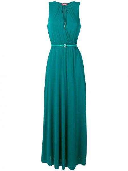 Зеленое платье макси на молнии без рукавов из вискозы Max Mara Studio