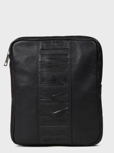Черная текстильная кожаная сумка на молнии Bikkembergs