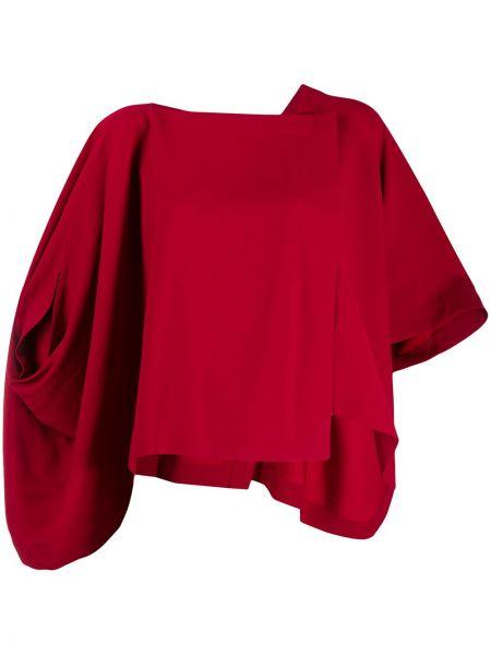 Красная рубашка свободного кроя с вырезом с драпировкой Issey Miyake
